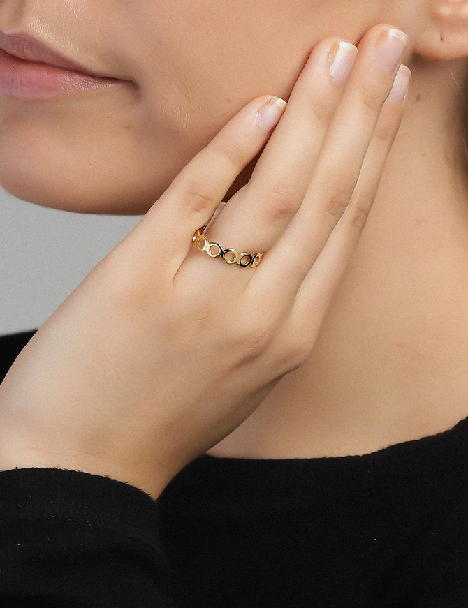 Ring 18 ct Gold Plated Sterling Silver Plain Clarity-Large
