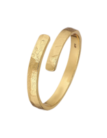 Ring 18 ct Gold Plated Sterling Silver Patterned Open-Extra Small