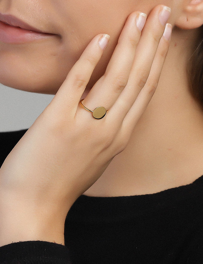 Ring 18 ct Gold Plated Sterling Silver Flat Round-Extra Small