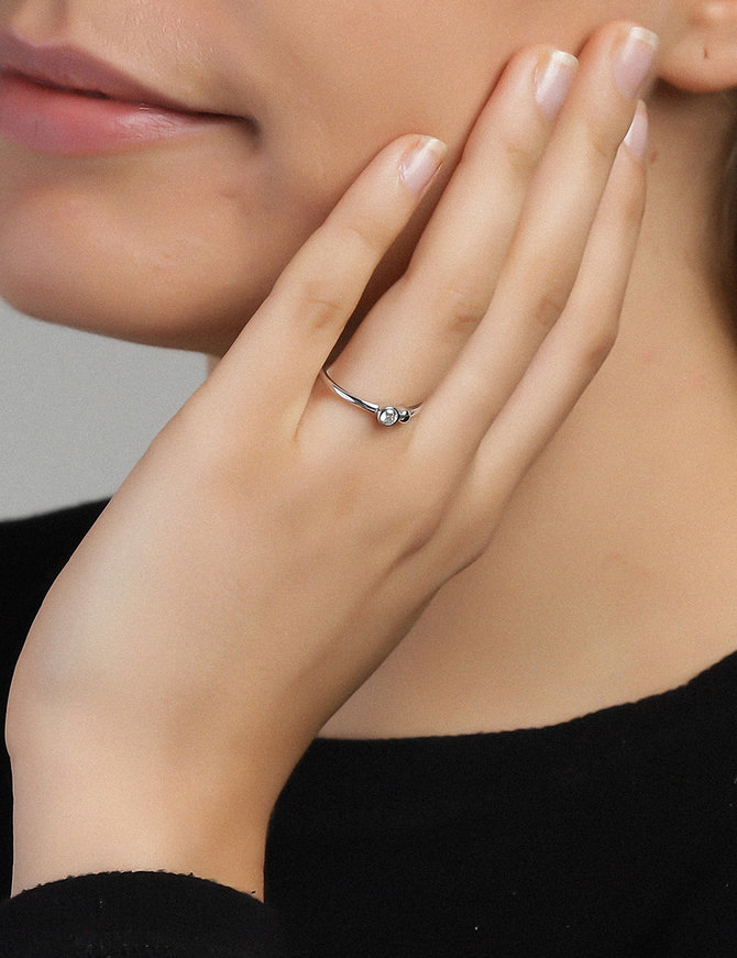 Ring Sterling Silver Clear Serenity-Small