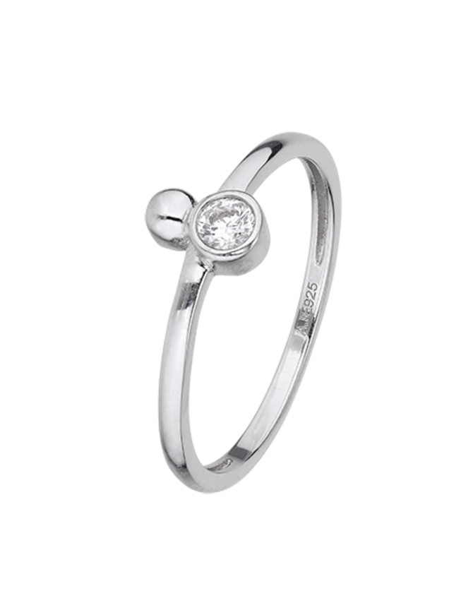 Ring Sterling Silver Clear Serenity-Medium