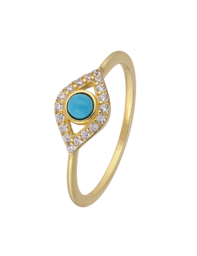 Ring 18 ct Gold Plated Sterling Silver Multi Serenity-Small