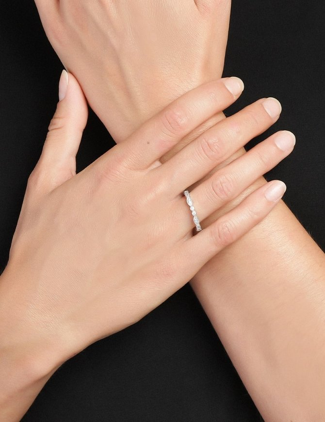 Ring Sterling Silver  Clear Eternity-Extra Small