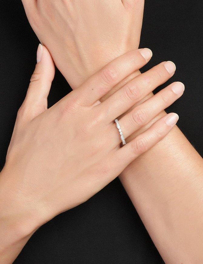 Ring Sterling Silver Clear Eternity-Medium