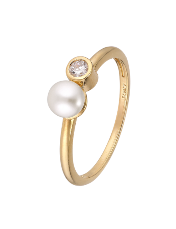 Ring 18 ct Gold Plated Sterling Silver Clear-Large