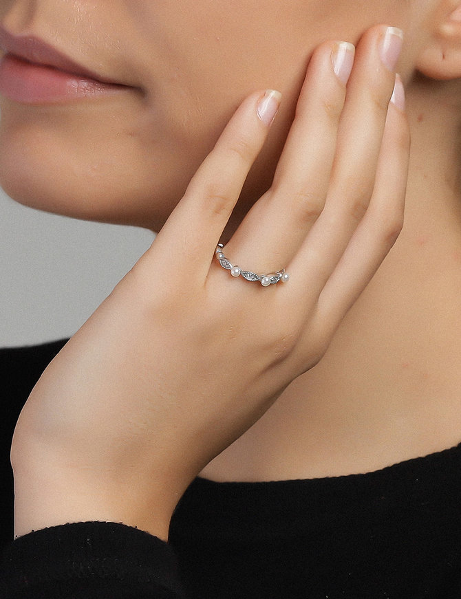Ring Sterling Silver  Clear-Extra Small
