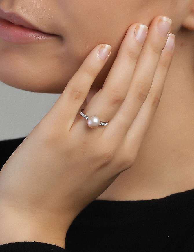 Ring Sterling Silver Clear Pink-Large