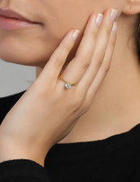 Ring 18 ct Gold Plated Sterling Silver Clear Infinity-Medium