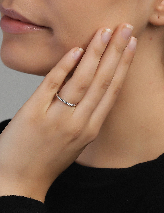 Ring Sterling Silver Clear Infinity-Small