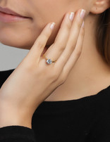 Ring 18 ct Gold Plated Sterling Silver Clear Infinity-Small