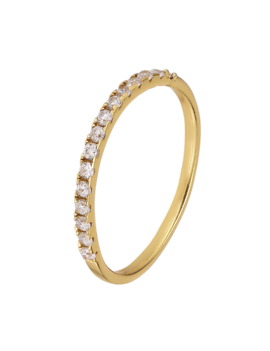 Ring 18 ct Gold Plated Sterling Silver Sparkling-Extra Small