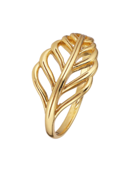 Ring 18 ct Gold Plated Sterling Silver Leaf-Large