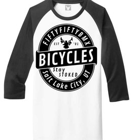 5050bmx Stay Stoked Black 3/4 Sleeve Park Tee