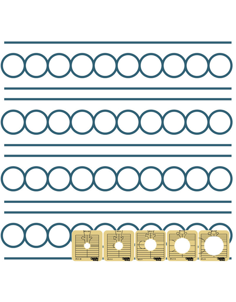 "Sew Steady Circles between the lines Template - 1 1/2"" Long Arm"