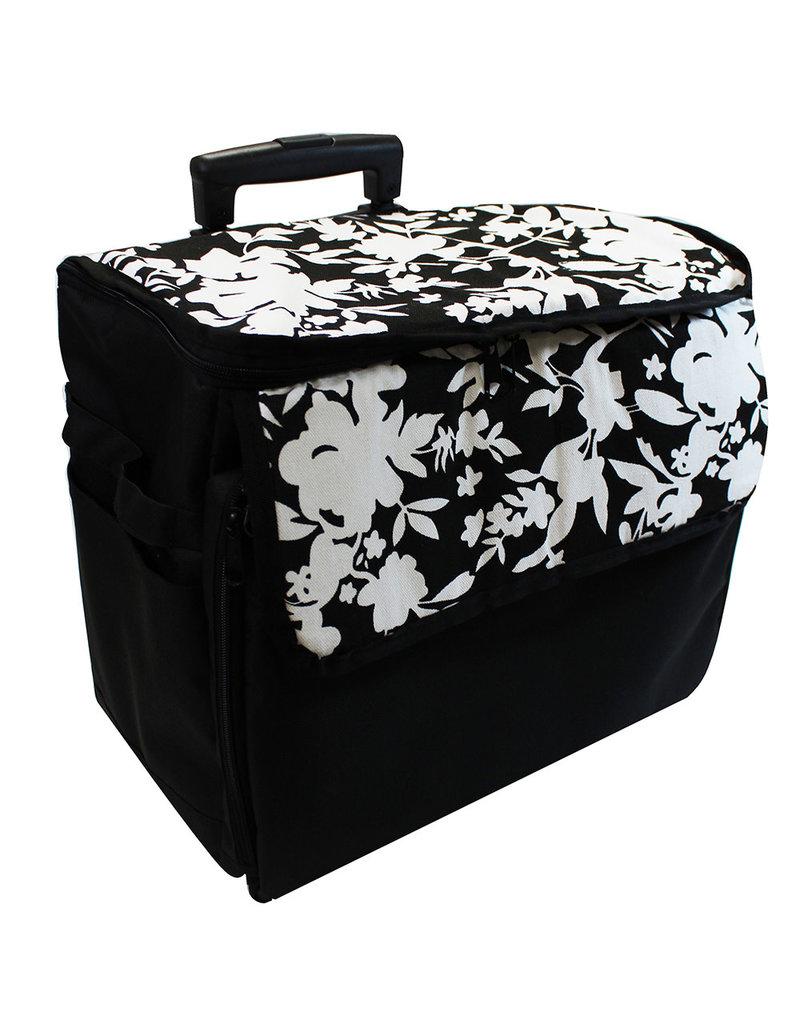 Transport case on wheels black printed