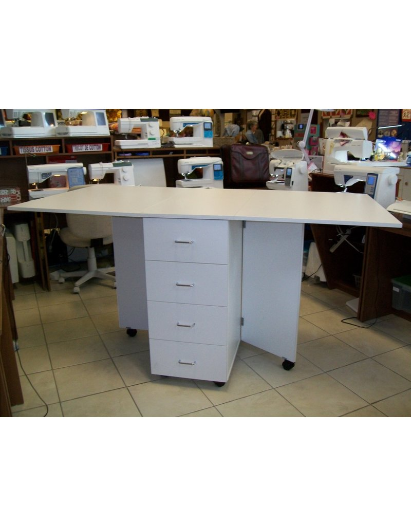 Penelope cutting table with 4 drawers