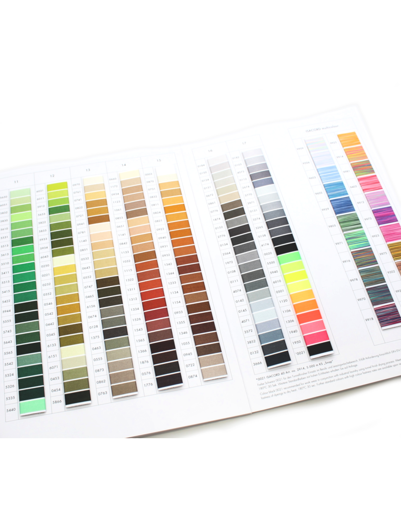 Isacord Isacord colour chart with wrapped thread samples