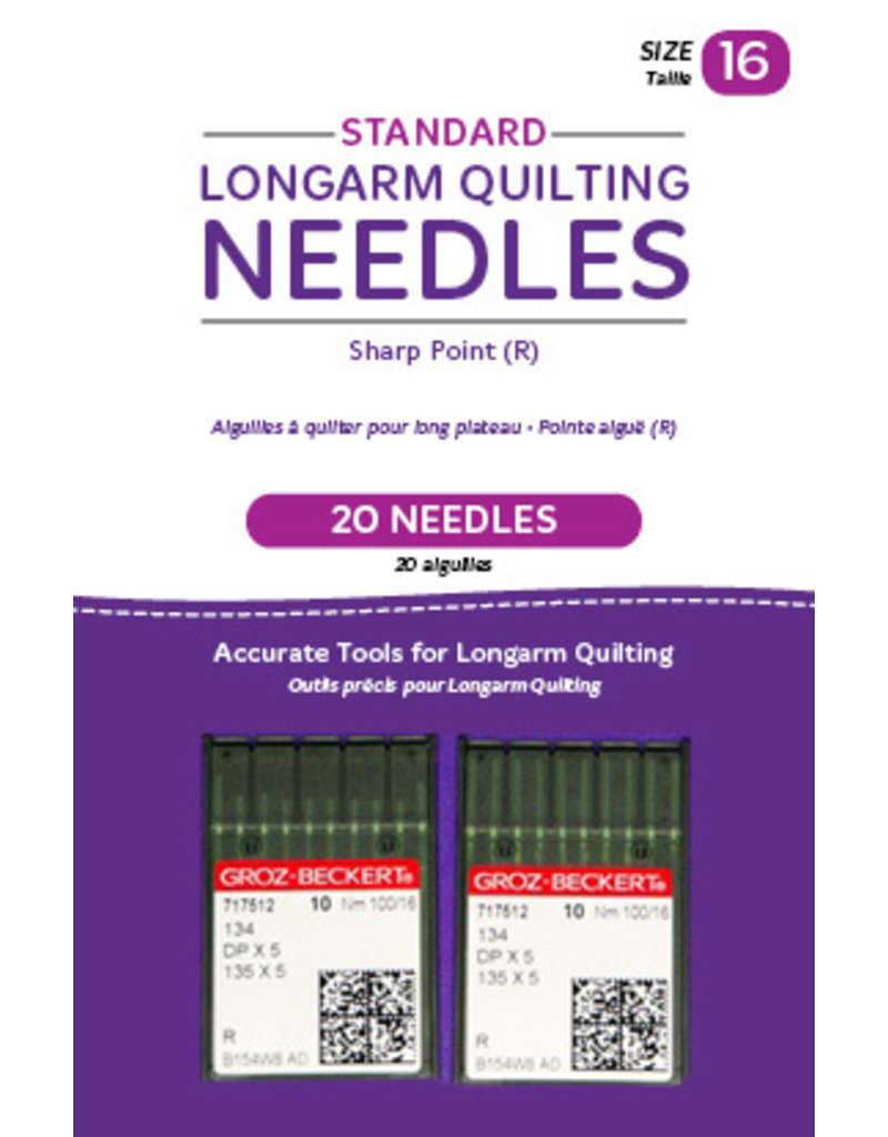 Groz - Beckert Standard longarm needles – Two packages of 10 (16/100-R, Sharp)