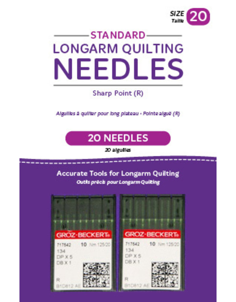 Groz - Beckert Standard longarm needles – Two packages of 10 (20/125-R, Sharp)