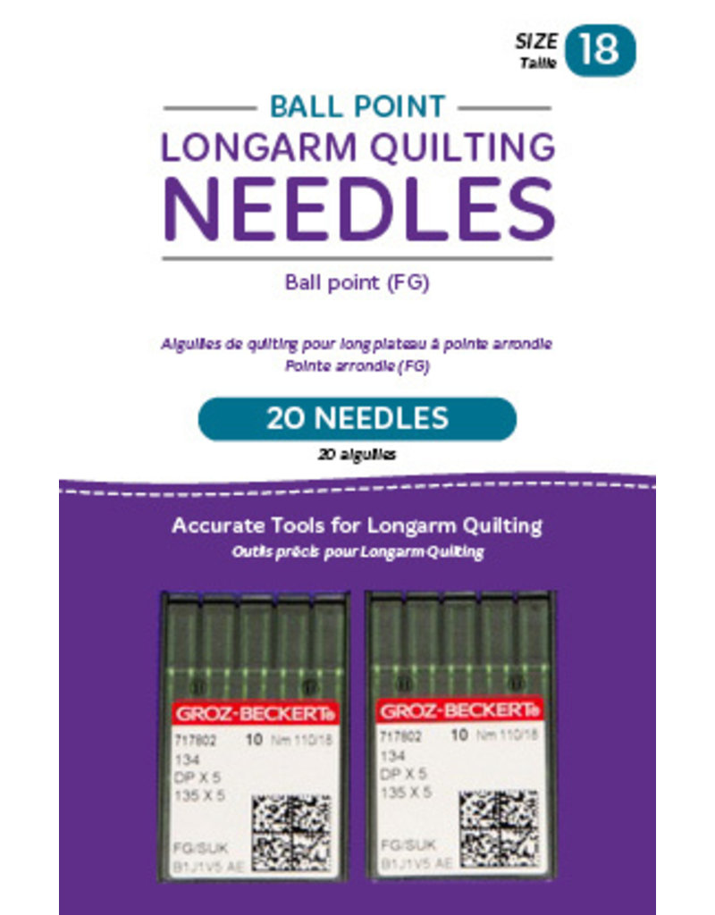 Groz - Beckert Ball point longarm needles – Two packages of 10 (18/110-FB, Ball Point)