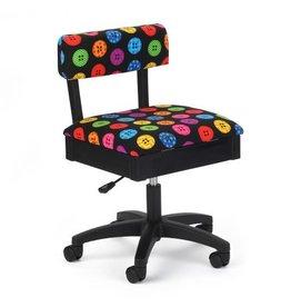 Arrow Black swivel chair with button print fabric