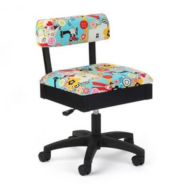 Arrow Black swivel chair with button sewing accessories print on blue