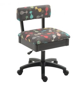 Arrow Black swivel chair with cat print fabric
