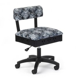 Arrow Black swivel chair with Skulls print fabric