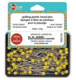 Heirloom Quilting Pins yellow Plastic Head 45X0.65Mm