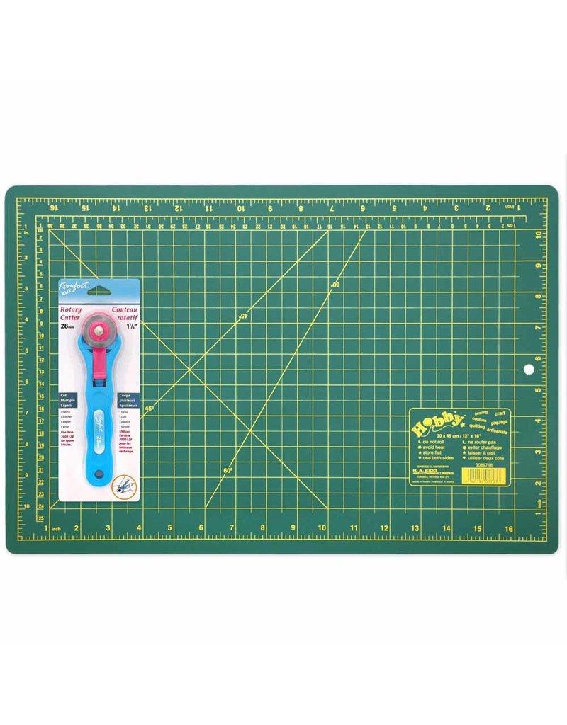 """Hobby HOBBY Cutting Mat/28mm Rotary Cutter Starter Kit - 12"""" x 18"""" (30.5 x 45.7cm)Trousse débutant courtepointe (tapis et roulette)"""