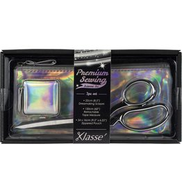 Klassé Klasse Iridescent Scissor 3pc Set-W/Dressmaker Shears, Tape Measure & Case-B4725