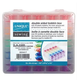 Unique Double Sided 50pc Bobbin Box with 50 plastic bobbins included