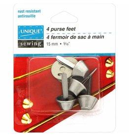 Unique Purse Feet - 15mm - Silver - 4 pcs.