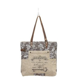Myra Bags S-0738 Old Key Linen Tote