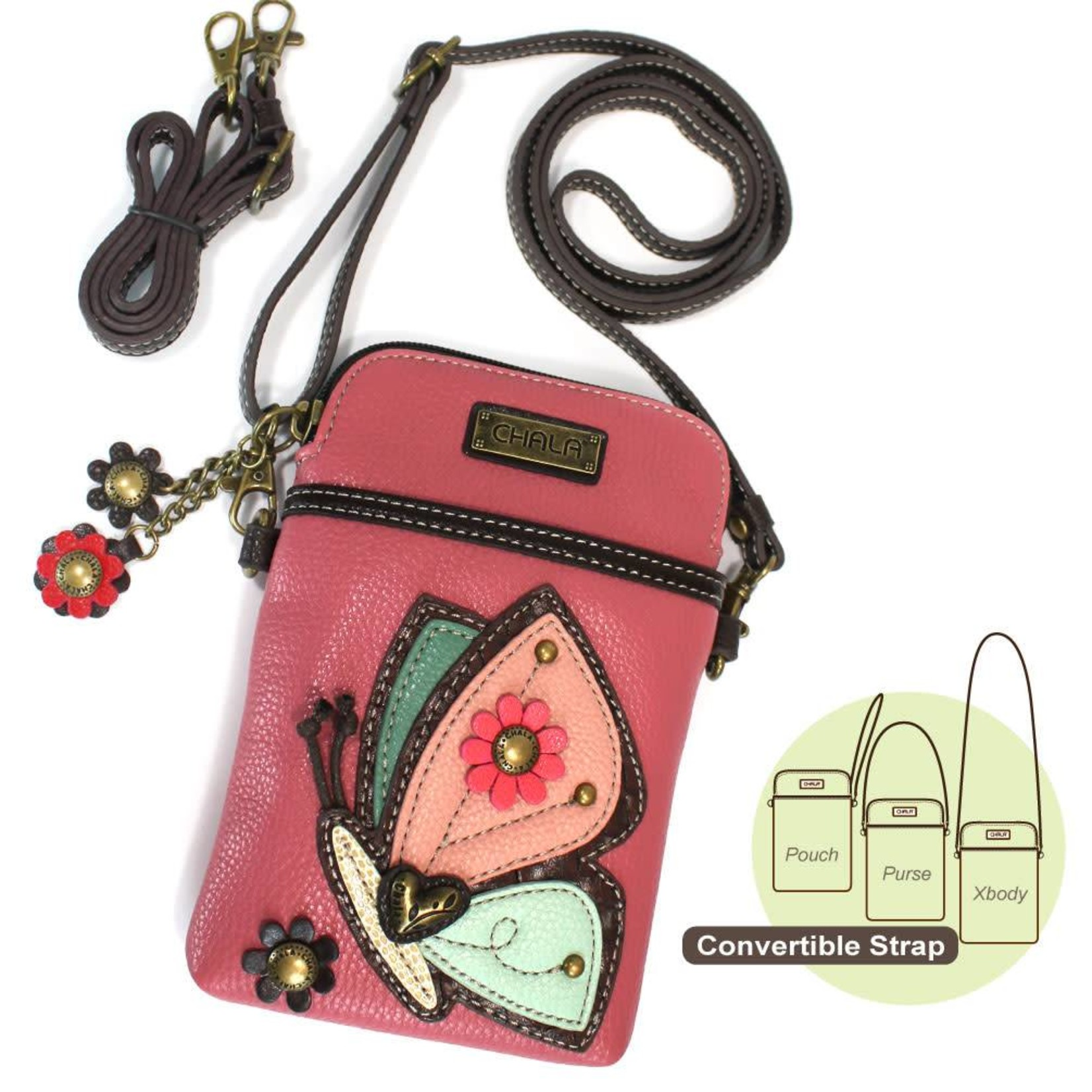 Chala Cell Phone Crossbody Butterfly Pink