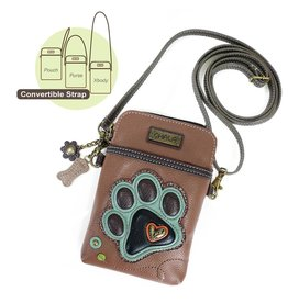 Chala Cell Phone Crossbody Teal Paw Print Brown