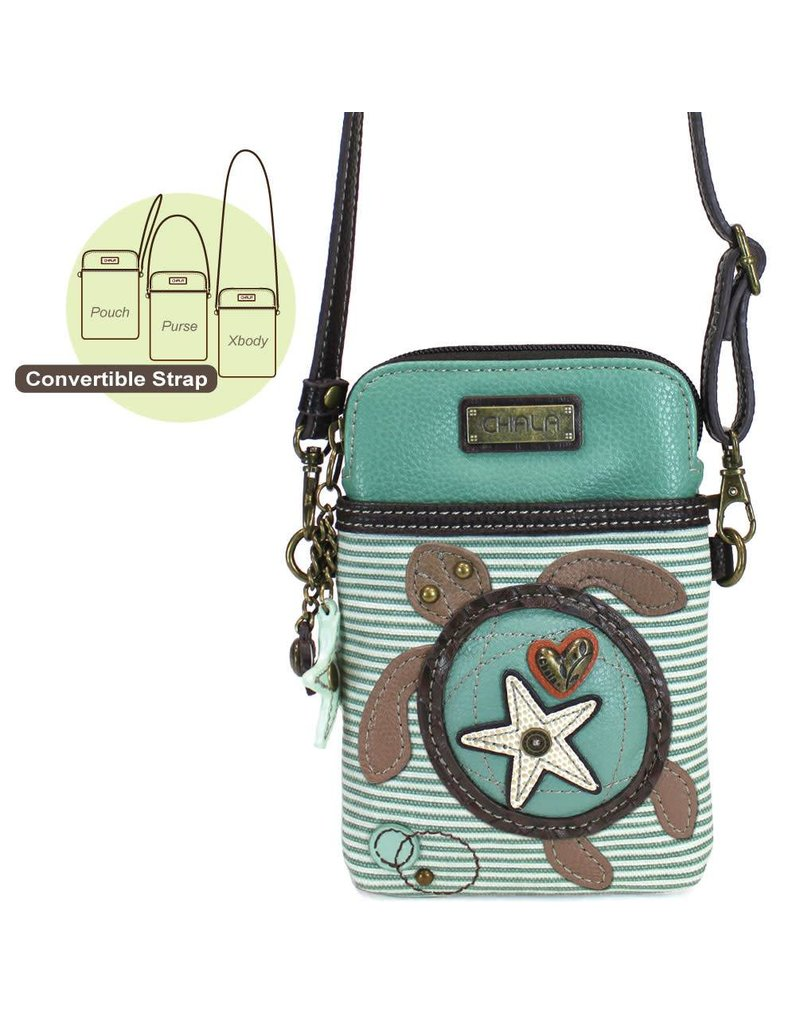Chala Cell Phone Crossbody Turtle Teal Stripe