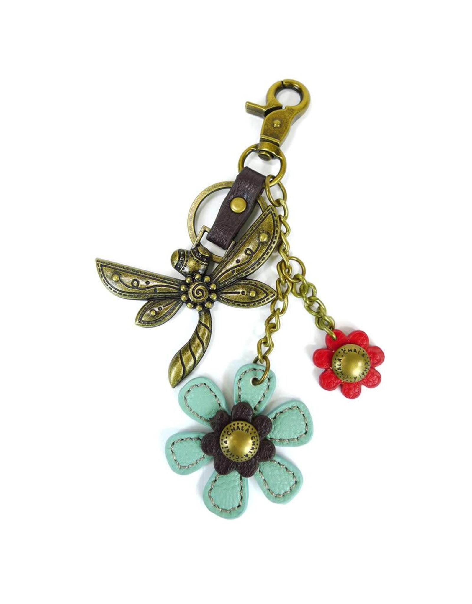 Chala Charming Key Chain Dragonfly Blue Flower