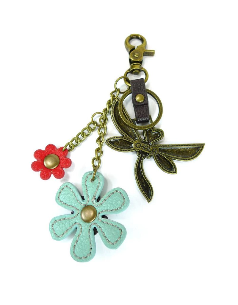 Chala Charming Key Chain Dragonfly Blue Flower