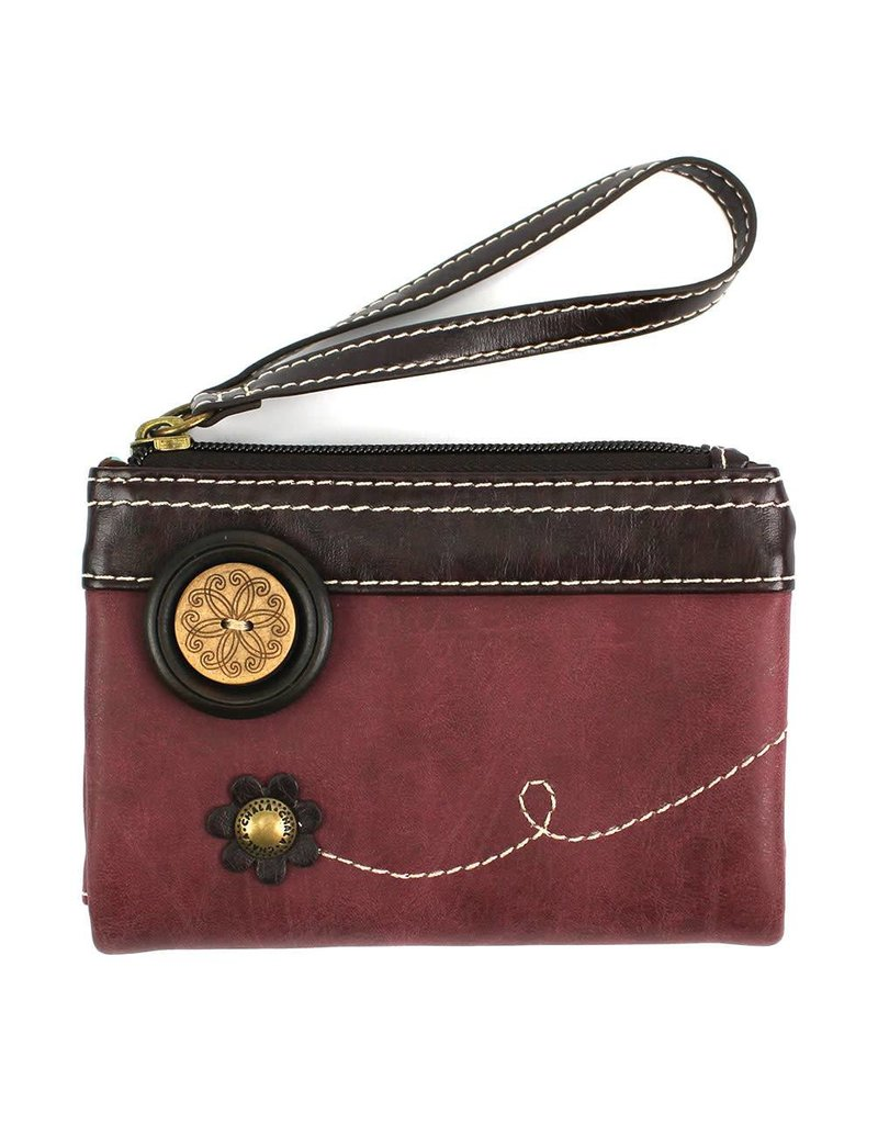 Chala Double Zip Wallet Burgundy