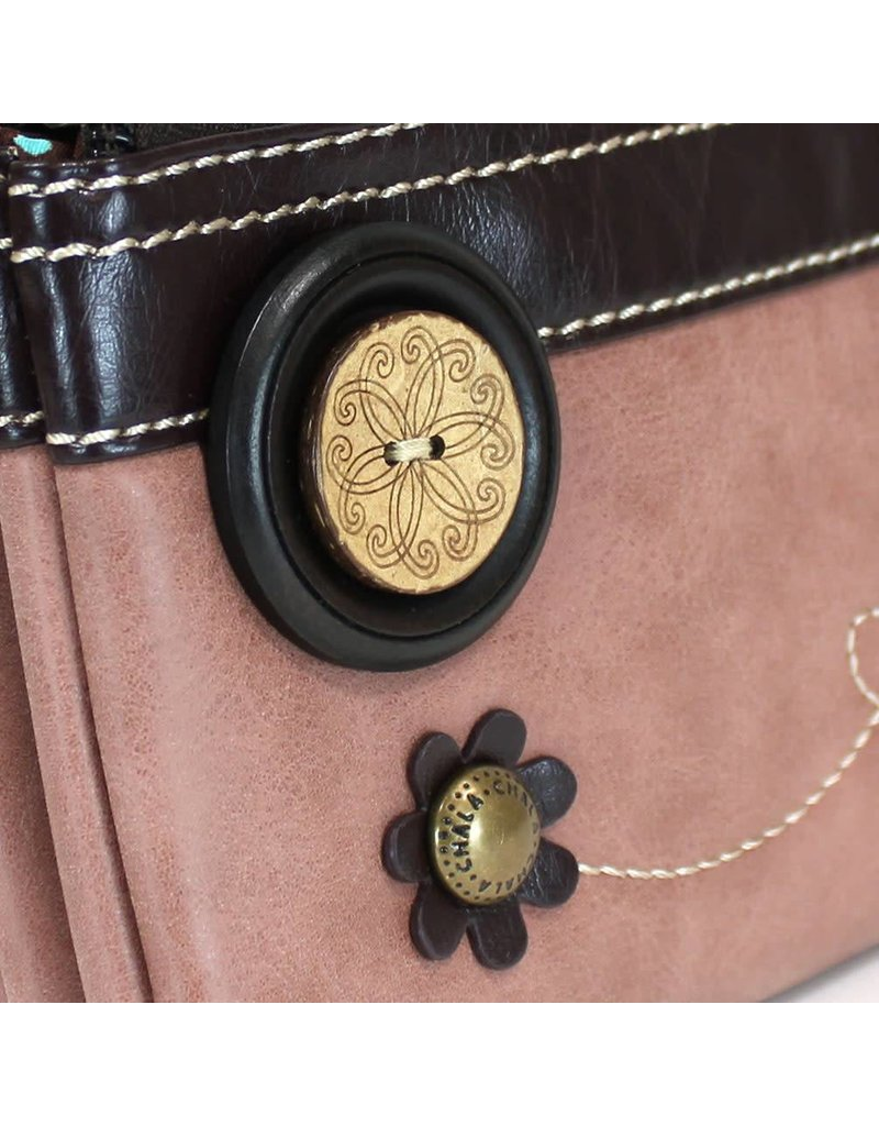 Chala Double Zip Wallet Dusty Rose