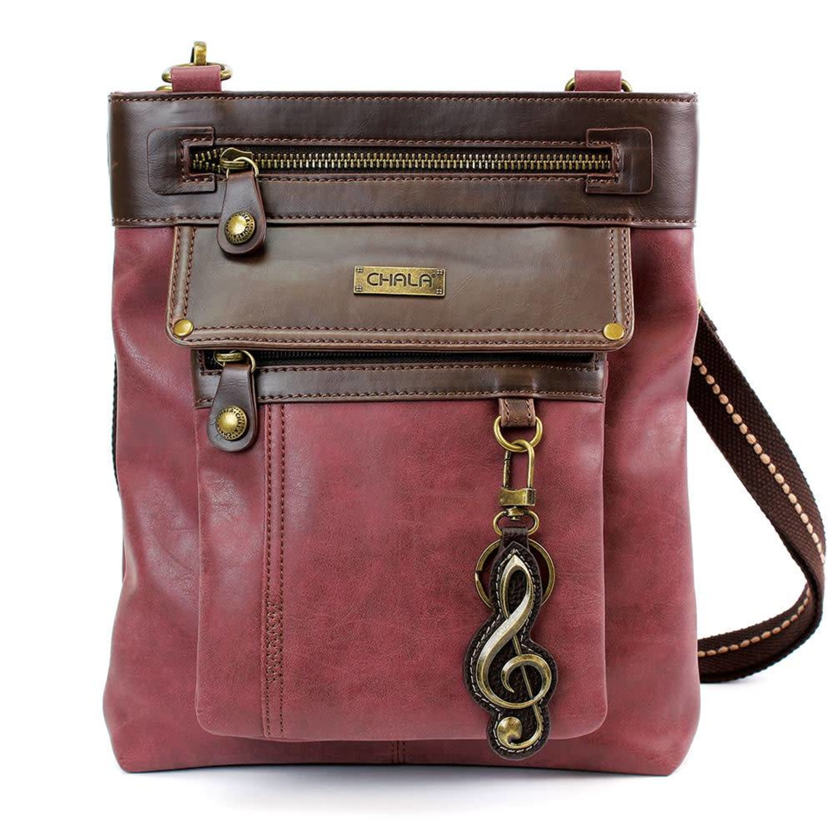 Chala Gemini Crossbody Burgundy Treble Clef