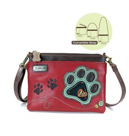Chala Mini Crossbody Teal Paw Print Burgundy
