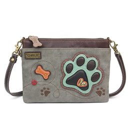 Chala Mini Crossbody Teal Paw Print Gray