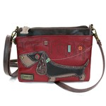 Chala Mini Crossbody Wiener Dog Burgundy