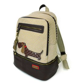 Chala Stripe Backpack Wiener Dog