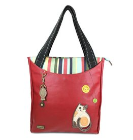 Chala Striped Zip Tote Cat