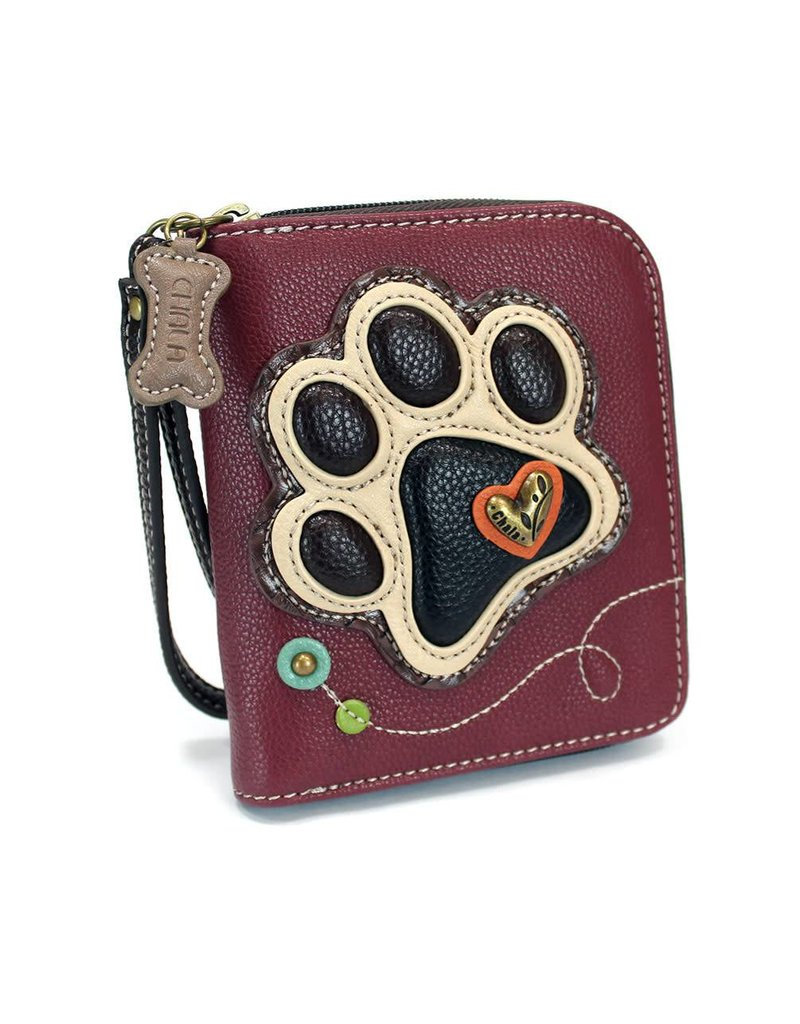 Chala Zip Around Wallet Ivory Paw Print Maroon