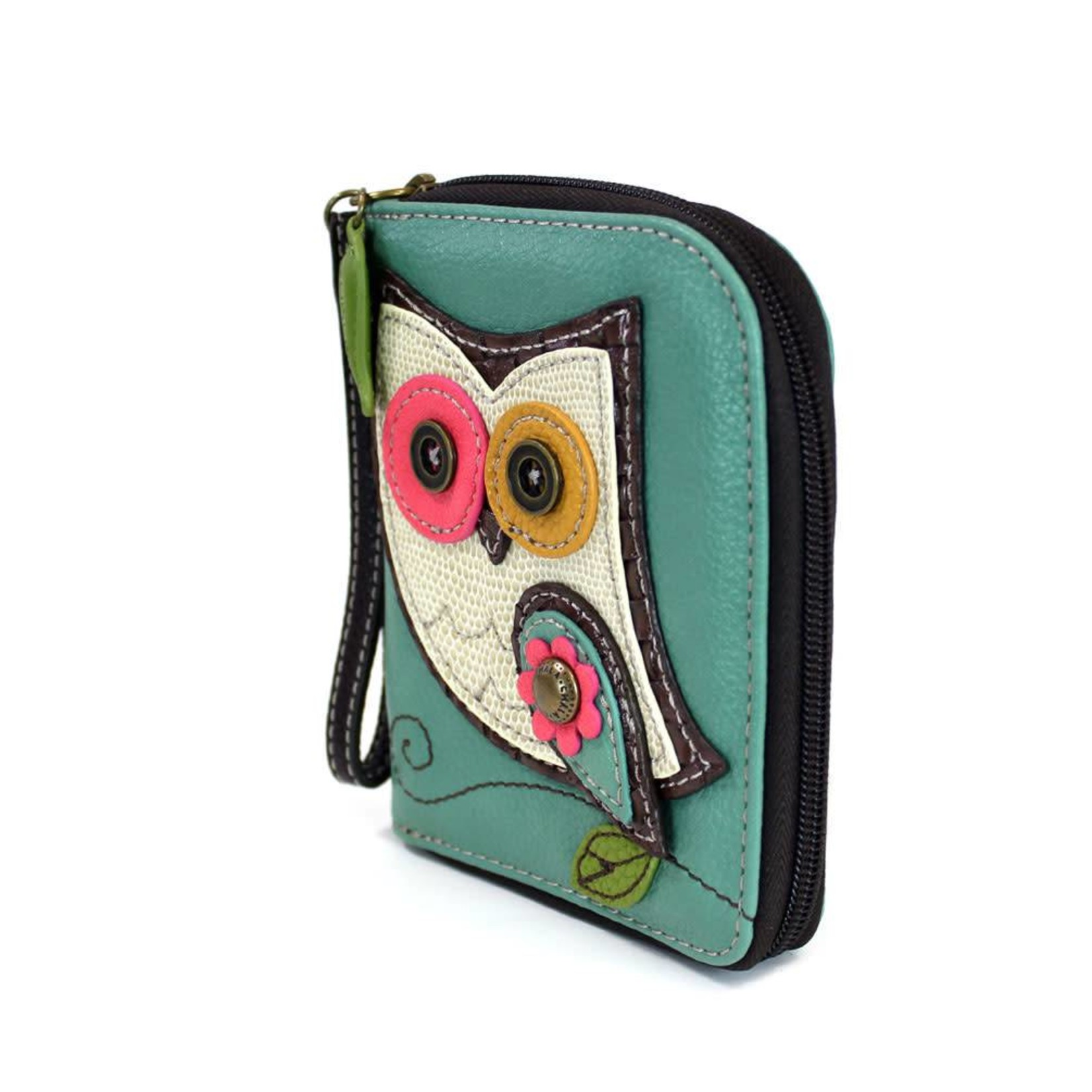 Chala Zip Around Wallet Owl II Teal