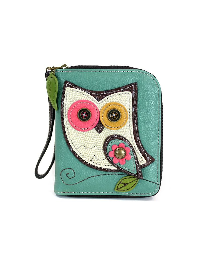 Chala Zip Around Wallet Owl II Teal